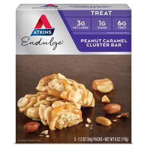 Atkins Endulge Treat, Peanut Caramel Cluster Bar, Keto Friendly 5 Count