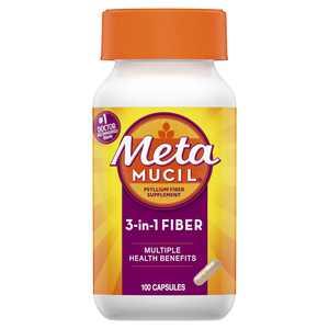 Metamucil 3-in-1 Psyllium Fiber Supplement Capsule, 100 Ct
