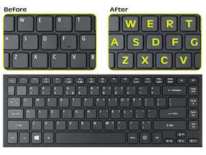 Royal Green Glowing Fluorescent Keyboards Stickers for PC, Large Lettering Work Easily and Type Faster in Dimly Lit Spaces, See Keyboard Clearly Day/Night English, Neon Yellow