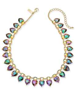 """INC Gold-Tone Crystal Heart Collar Necklace, 17"""" + 3"""" extender, Created for Macy's"""