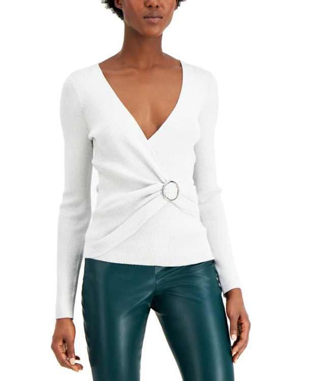 INC Lurex V-Neck Buckle Sweater, Created for Macy's