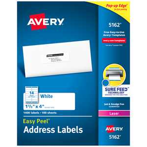"""Avery Easy Peel Address Labels, Sure Feed Technology, Permanent Adhesive, 1-1/3"""" x 4"""", 1,400 Labels (5162)"""