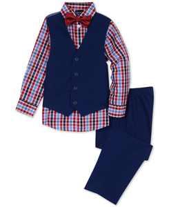 Toddler Boys 4-Pc. Check-Print Shirt, Vest, Pants & Bowtie Set