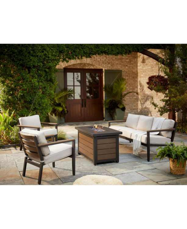 Stockholm Outdoor 4-Pc. Seating Set (Sofa, 2 Club Chairs & Fire Pit) with Sunbrella Cushions, Created for Macy's