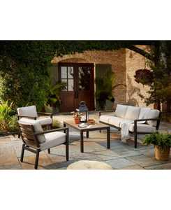 Stockholm Outdoor 4-Pc. Seating Set (Sofa, 2 Club Chairs & Coffee Table) with Sunbrella Cushions, Created for Macy's