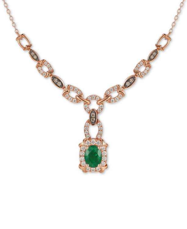 """Costa Smeralda Emerald (7/8 ct. t.w.) & Diamond (3/4 ct. t.w.) Chain Link 16"""" Pendant Necklace in 14k Rose Gold"""
