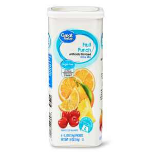 Great Value Sugar-Free Fruit Punch Drink Mix, 1.9 oz, 6 Count