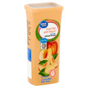 Great Value Iced Tea with Peach Drink Mix, 0.25 oz, 6 Count