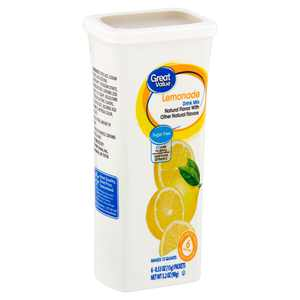 Great Value Sugar-Free Lemonade Drink Mix, 0.53 Oz., 6 Count