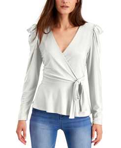 Petite Puff-Shoulder Wrap Top, Created for Macy's