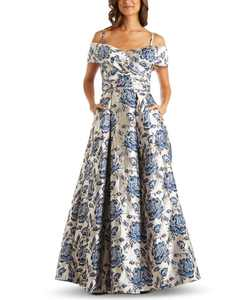Floral-Brocade Cold-Shoulder Ball Gown