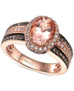 Peach Morganite (1-1/3 ct.-t.w.) & Diamond (5/8 ct. t.w.) Ring in 14k Rose Gold