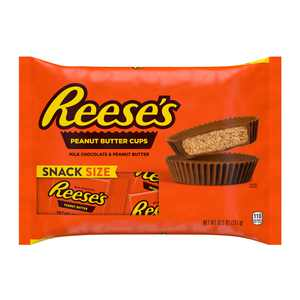 REESE'S, Milk Chocolate Peanut Butter Snack Size Cups Candy, Individually Wrapped, 10.5 oz, Bag
