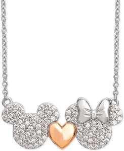 """Cubic Zirconia Mickey Heart Minnie 18"""" Pendant Necklace in Sterling Silver & 18k Rose Gold-Plate"""