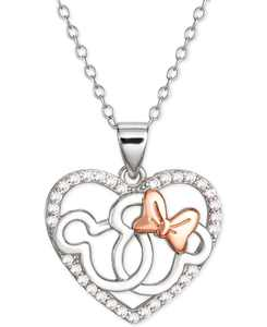 """Cubic Zirconia Interlocking Mickey & Minnie Heart 18"""" Pendant Necklace in Sterling Silver & 18k Rose Gold-Plate"""