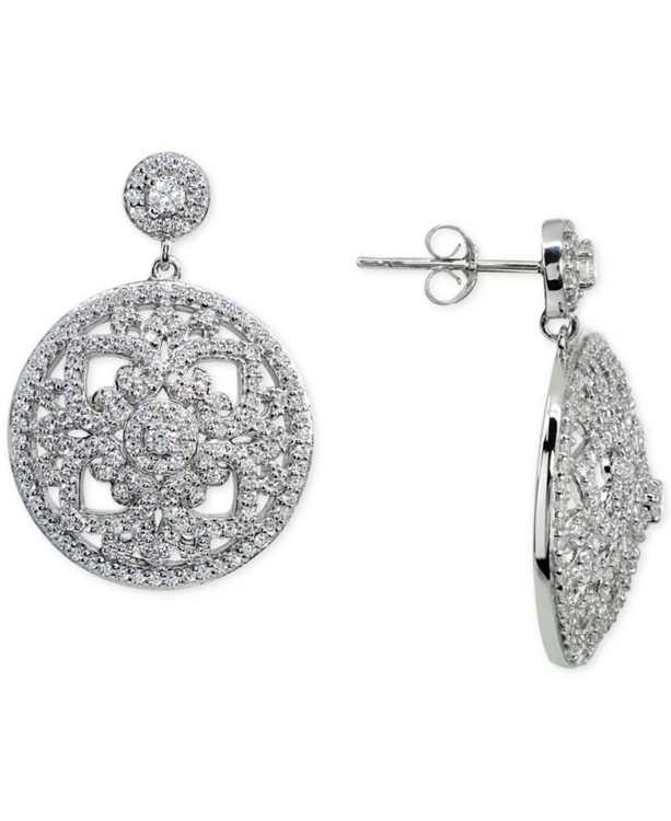 Cubic Zirconia Floral Openwork Disc Drop Earrings in Sterling Silver