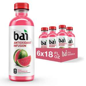 Bai Flavored Water, Kula Watermelon, Antioxidant Infused Drinks, 18 Fluid Ounce Bottle, 6 count