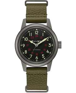 Men's Automatic Military Green Leather Strap Watch 38mm