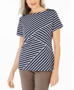 Petite Asymmetrical-Stripe Top, Created for Macy's