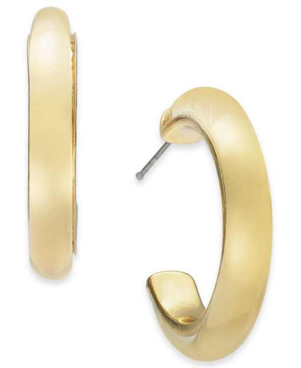 "Gold-Tone Medium Polished Hoop Earrings, 1.26"", Created for Macy's"