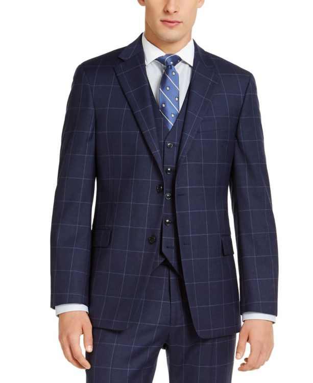 Men's Modern Fit TH Flex Stretch Navy Blue Windowpane Suit Jacket