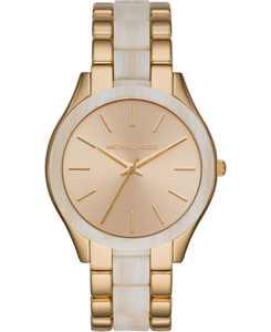 Women's Runway Slim Gold-Tone Stainless Steel & Alabaster Acetate Bracelet Watch 42mm