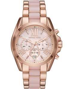Women's Bradshaw Chronograph Rose Gold-Tone Stainless Steel & Blush Acetate Bracelet Watch 43mm