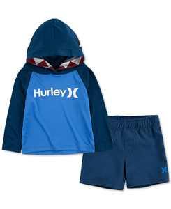 Baby Boys 2-Pc. UPF 50+ Colorblocked Shark-Print Hooded T-Shirt & Swim Trunks Set