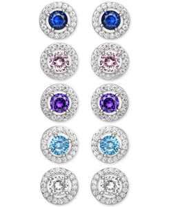 5-Pc. Set Cubic Zirconia Halo Stud Earrings in Sterling Silver