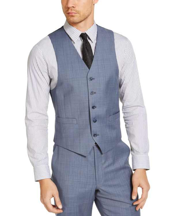 Men's Classic-Fit Airsoft Stretch Light Blue Windowpane Wool Suit Separate Vest