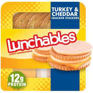 Lunchables Turkey & Cheddar Cheese Snack Kit with Crackers, 3.2 oz Tray