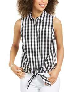 Gingham-Print Tie-Hem Shirt, Created for Macy's