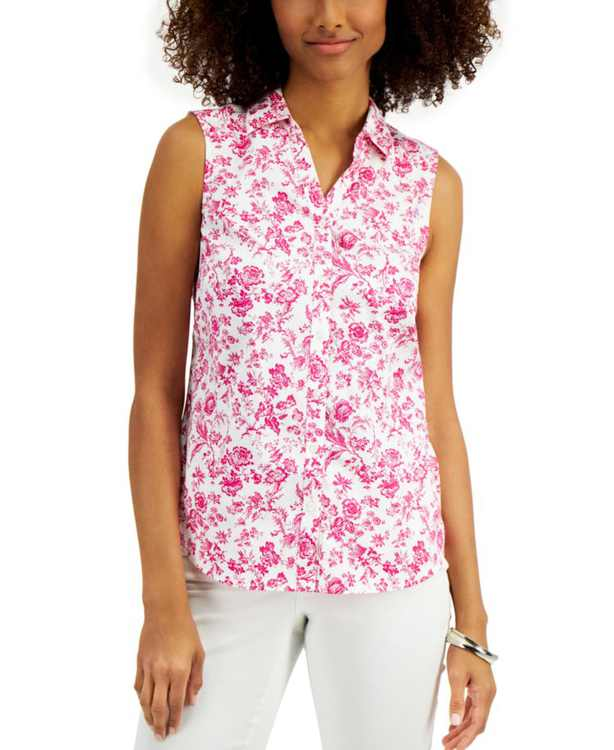 Toile-Print Sleeveless Shirt, Created for Macy's