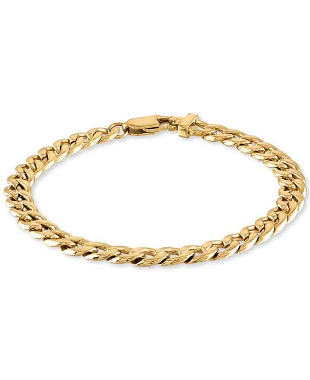 Curb Link Chain Bracelet in Yellow Ion-Plated Stainless Steel, Created for Macy's ( Also available in Stainless Steel)