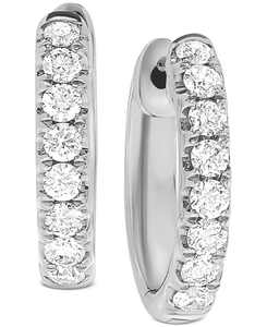 Diamond (1/2 ct. t.w.) Small Hoop Earrings in 14k White Gold or 14k Gold, 1/2""