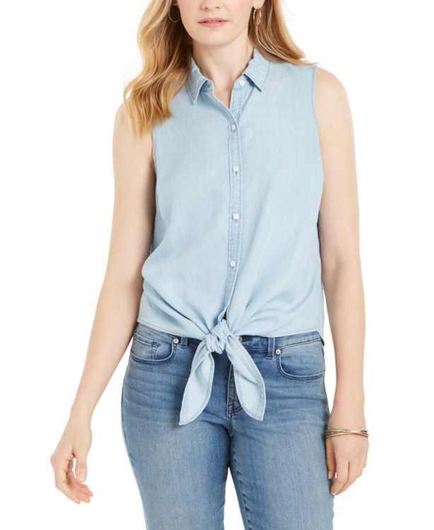 Cotton Tie-Hem Sleeveless Shirt, Created for Macy's