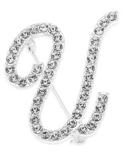 Silver-Tone Crystal Initial Pin, Created for Macy's