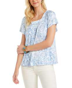 Petite Printed Square-Neck Top, Created for Macy's