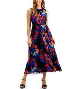 Tropical Floral Chiffon Dress