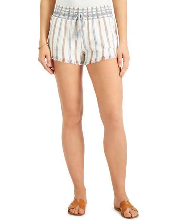 Juniors' Stripe Smocked Shorts