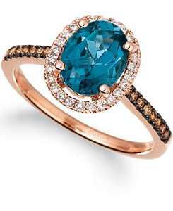Deep Sea Blue Topaz (2 ct. t.w.) & Diamond (1/4 ct. t.w) Rng in 14k Rose Gold (Also in Blue Topaz, Citrine, Green Quartz, Peridot, Amethyst, Dark Amethyst, & Opal)