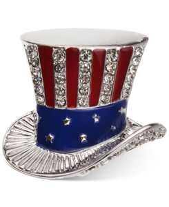 Silver-Tone Pavé Red, White & Blue Uncle Sam Hat Pin, Created for Macy's