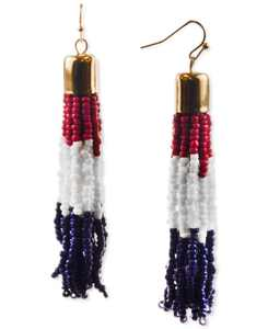 Gold-Tone Red, White & Blue Seed Bead Tassel Drop Earrings, Created for Macy's