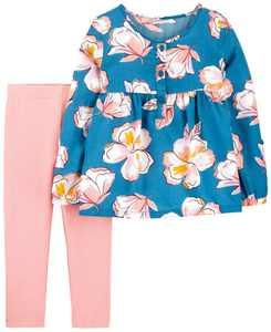 Carters Toddler Girl 2-Piece Floral Poplin Top & Legging Set