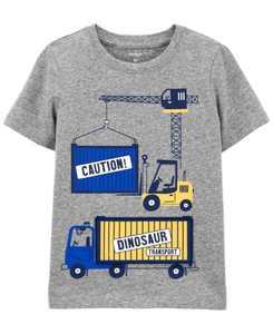 Toddler Boys Construction Peek-A-Boo Jersey T-shirt