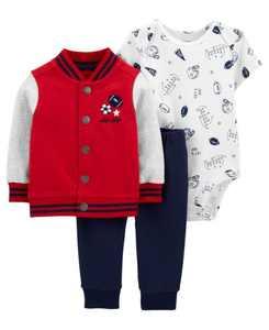 Baby Boys Varsity Little Jacket Set, 3 Pieces