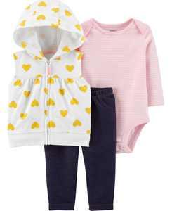 Baby Girl 3-Piece Little Vest Set