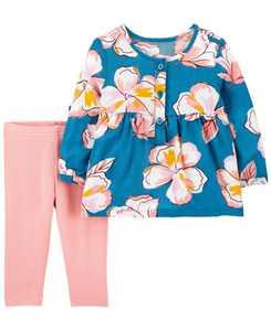 Carters Baby Girl 2-Piece Floral Poplin Top & Legging Set