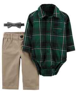 Baby Boy 3-Piece Plaid Dress Me Up Set