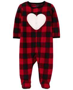 Baby Girl Buffalo Check Zip-Up Sleep & Play
